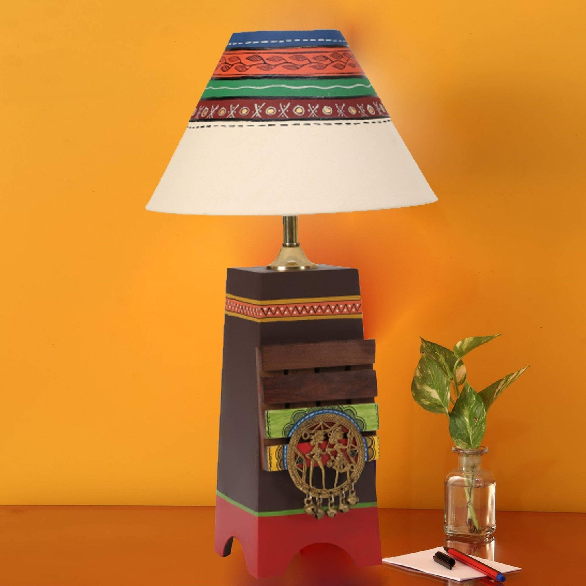 Decorative Wooden Table Lamp With Shade For Bedroom