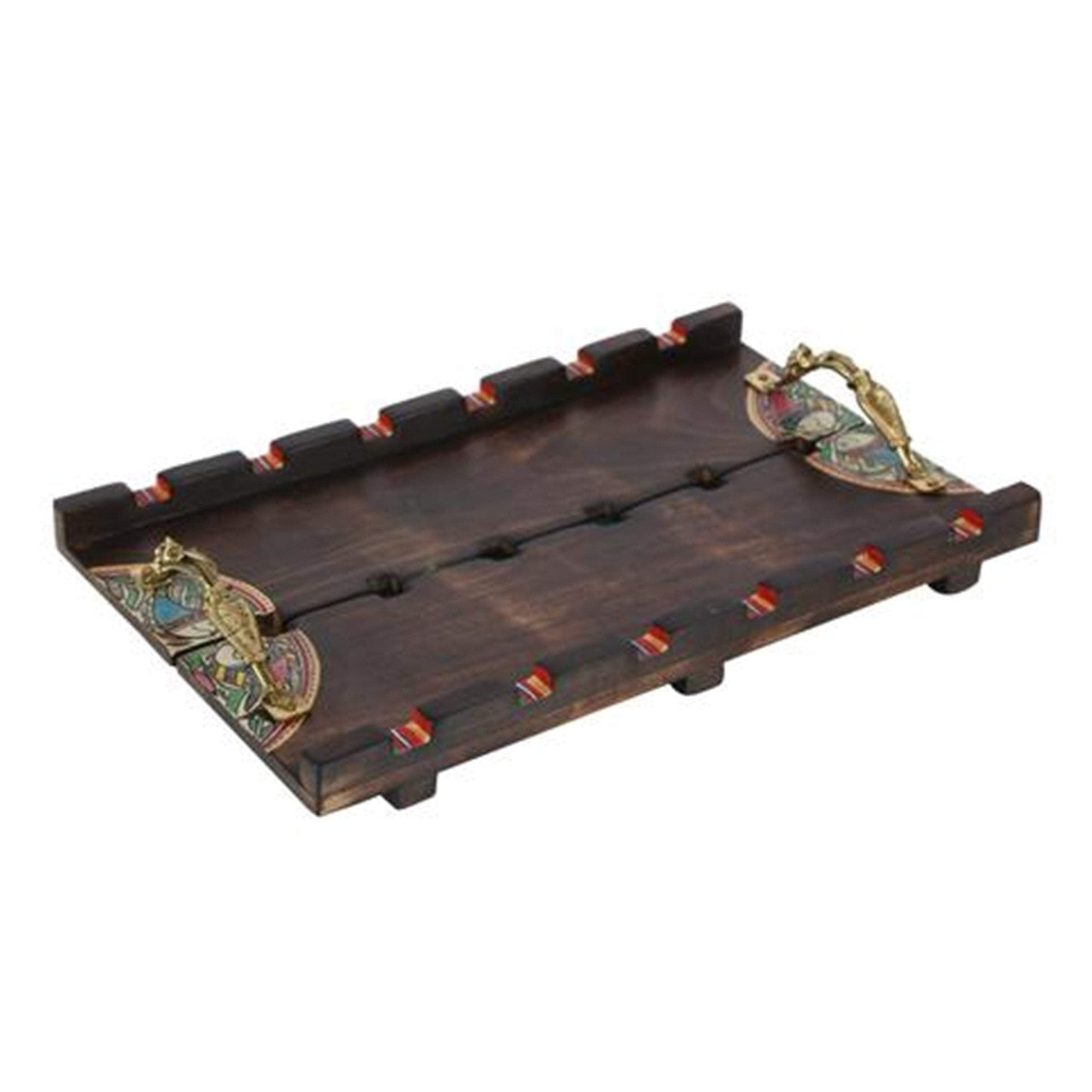 Hand Painted Decorative Wooden Tray With Handles