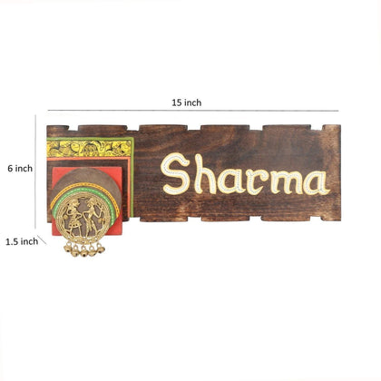 Wooden Personalized Name Plate For Door With Madhubani & Dhokra Art