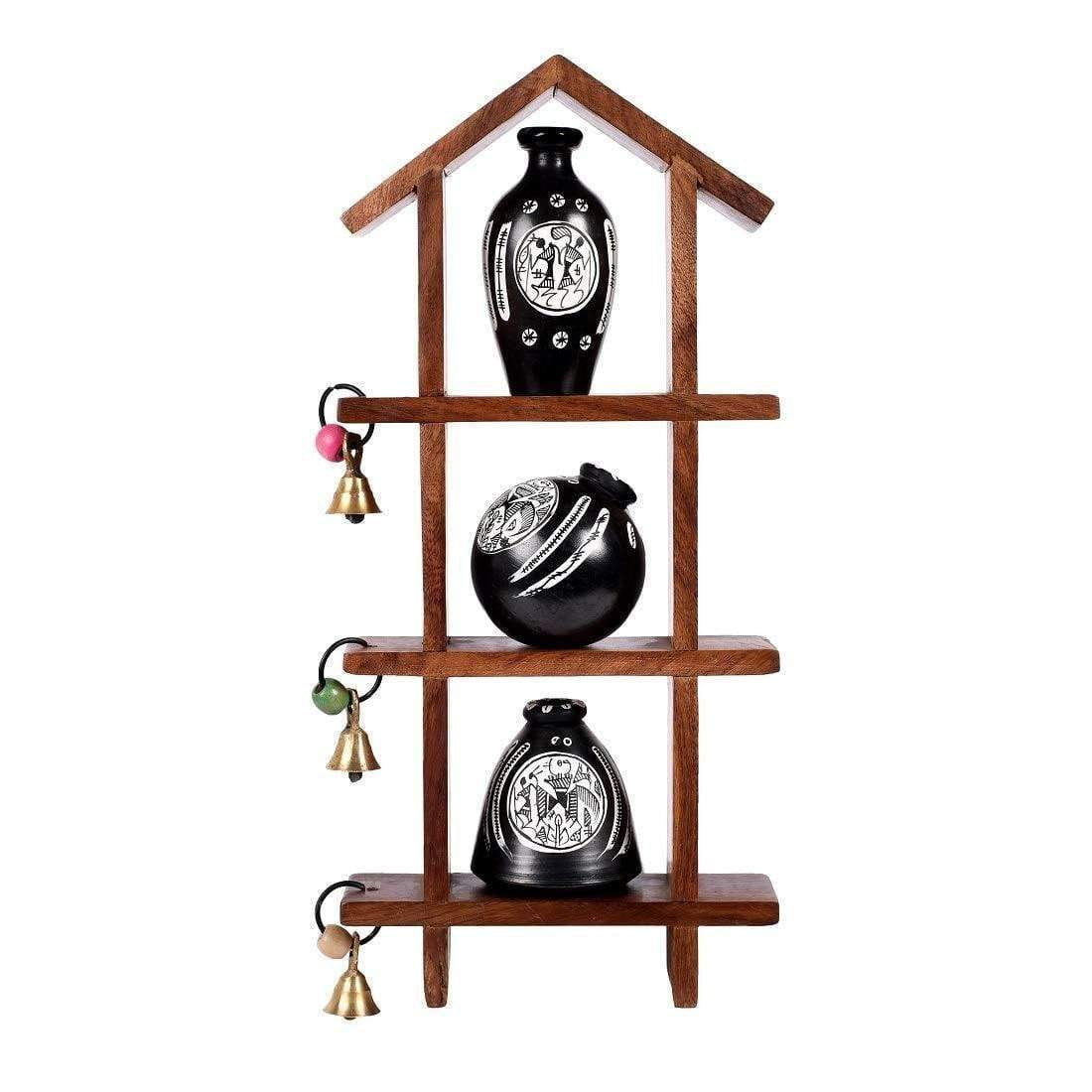 Warli Art Black And White Wooden Wall Shelf With Decorative Earthen Vases