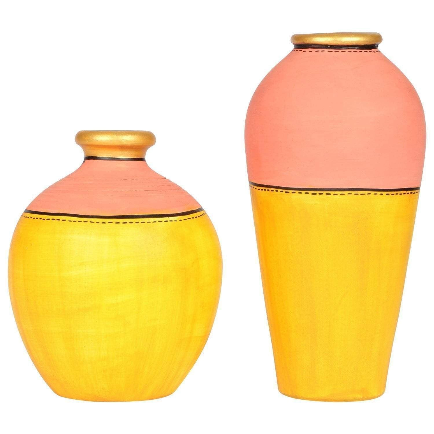 Hand Painted Multi Color Decorative Vases Set Of 2