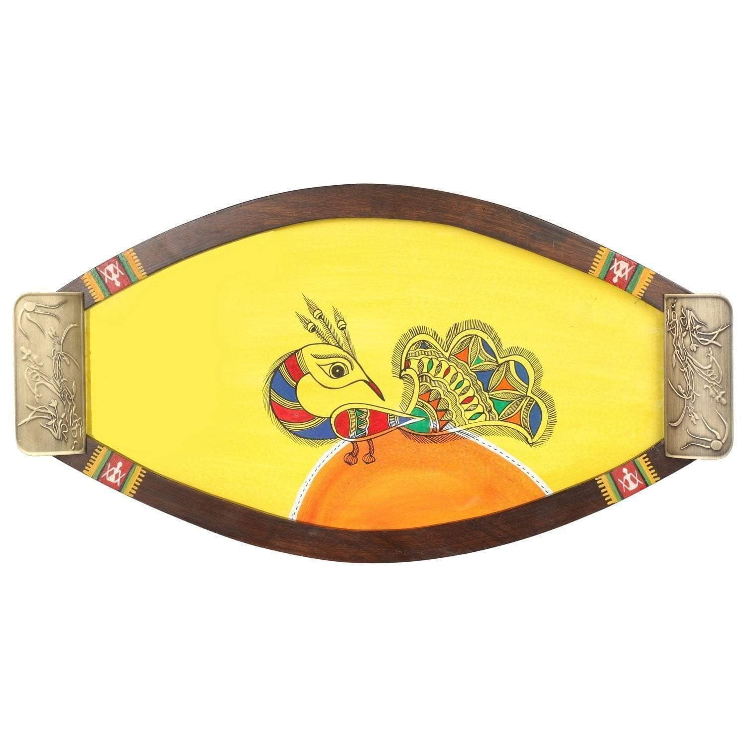 Decorative Oval Shaped Teak Wood Tray With Brass Handle