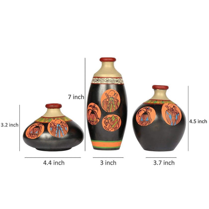 Set Of 3 Handcrafted Black Terracotta Vases With Warli Painting