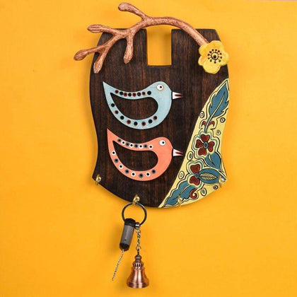 Handmade Bird Wooden Key Holder For Wall