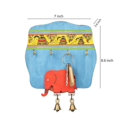Handcrafted Elephant Wooden Key Holder for Wall