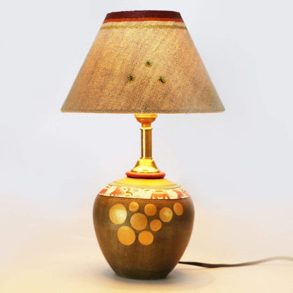 Madhubani Handcrafted Terracotta Table Lamp With Cotton Shade