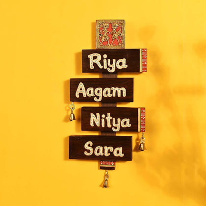 Dhokra Art Teak Wooden Personalized Nameplate for Home