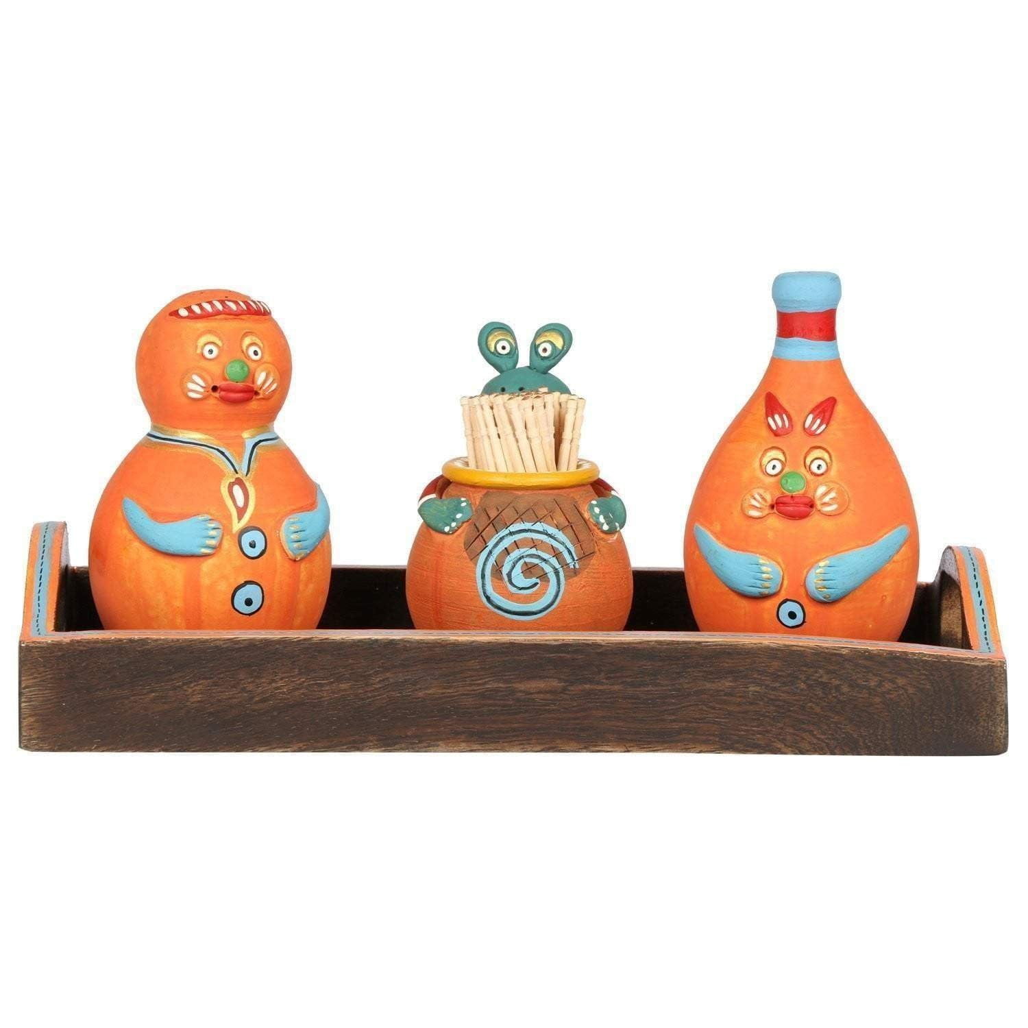Handicraft Salt and Pepper Holder with Wooden Tray and Tooth Pick Holder