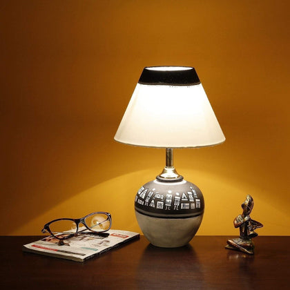 Terracotta Warli Hand-Painted Pot Shaped Table Lamp With Cotton Shade