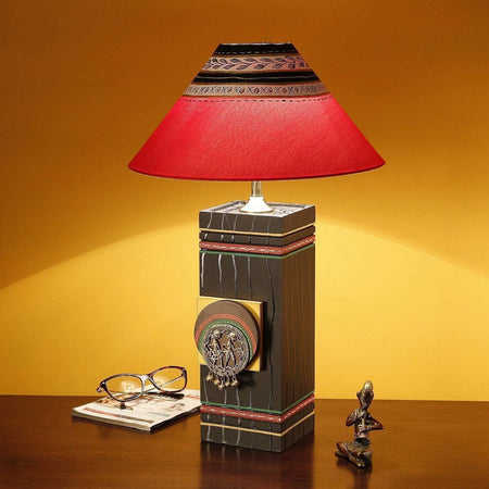 IndiaSupply Handcrafted Pyne Wooden Table Lamp Home Decorative Bedroom Study Table Lamp