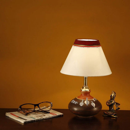 Terracotta Hand-Painted Pot Shaped Decorative Table Lamp With Shade