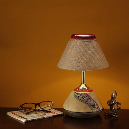 Hand Painted Terracotta Table Lamp With Cotton Shade For Living Room