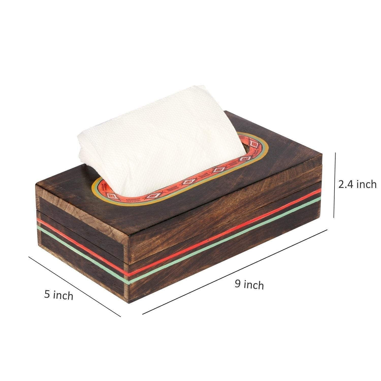 Handcrafted Rectangle Napkin Paper Holder With Warli Art