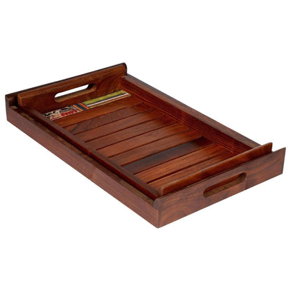 wooden trays serving set of 2