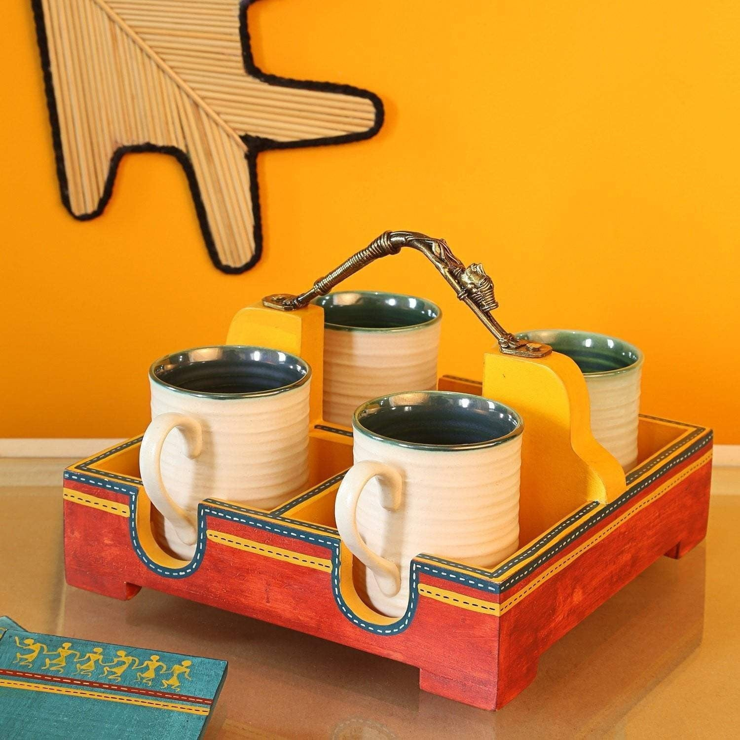 Set of 4 Hand Painted Ceramic Cups With Wooden Tray