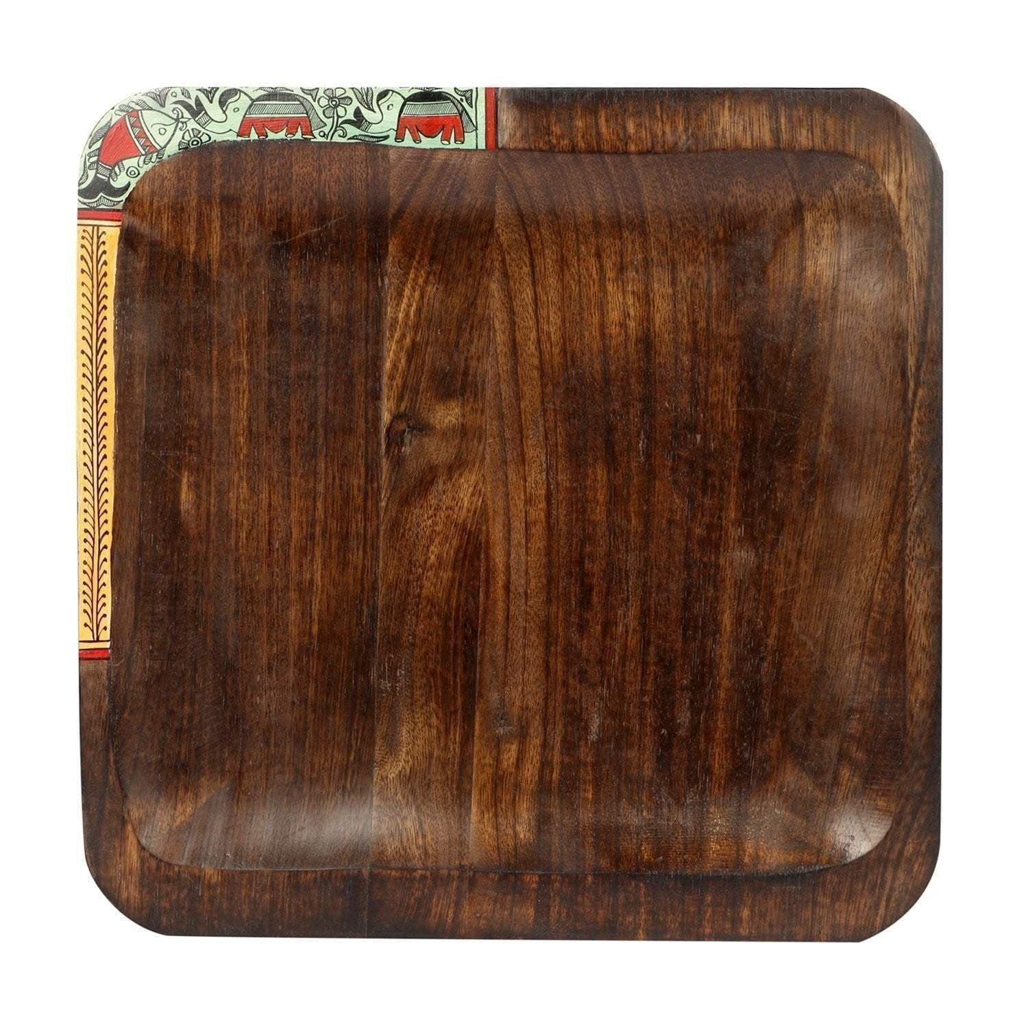 Handcrafted Square Wooden Serving Tray