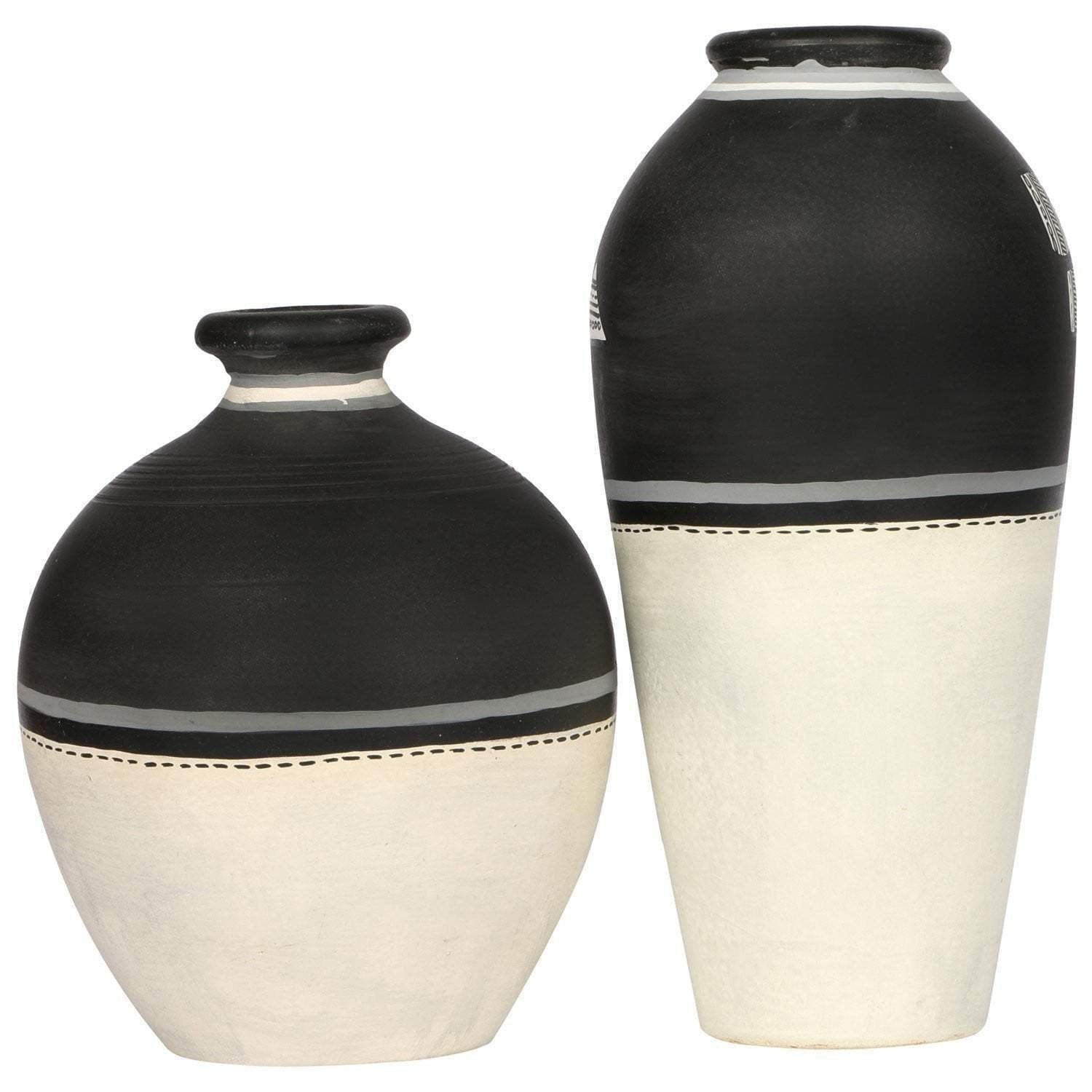 Black And White Warli Art Decorative Terracotta Vases Set Of 2