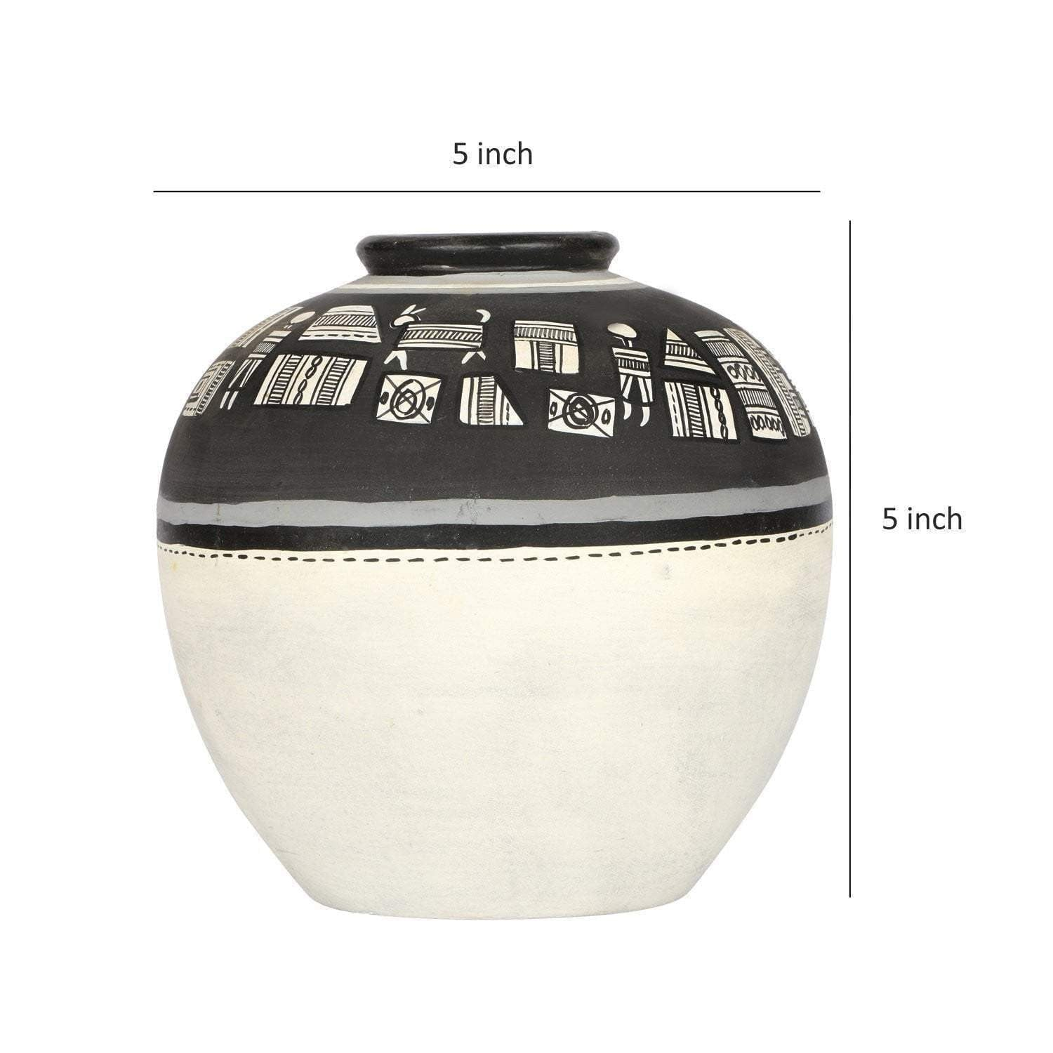 Terracotta Black And White Hand Painted Decorative Vases