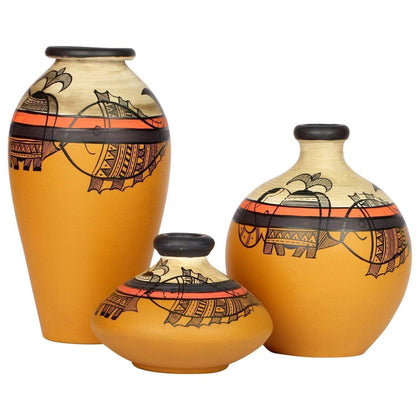 Hand Painted Mustard Terracotta Earthen Vases Set of 3