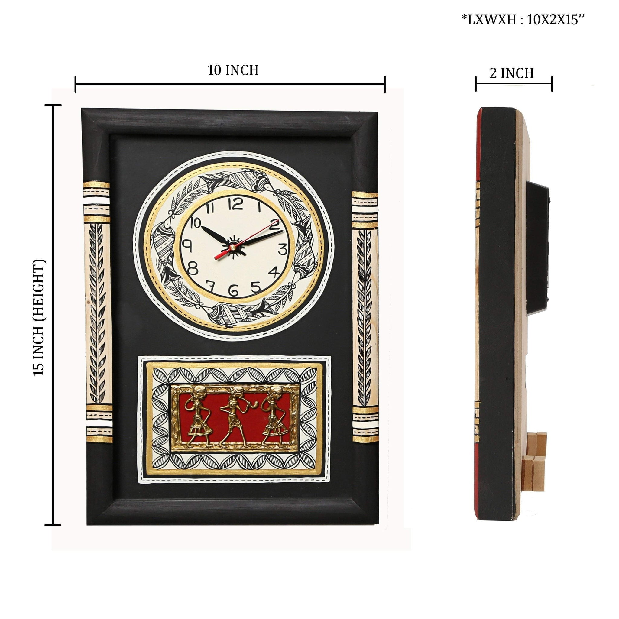 Black Handcrafted Traditional Wooden Wall Clock With Dhokra And Warli Art Work