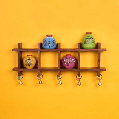 Multi Colored Wooden Wall Mounted Shelf With Decorative Terracotta Pots