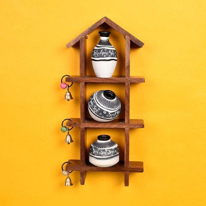 Madhubani Wooden Wall Mounted Shelves With Decorative Terracotta Vases