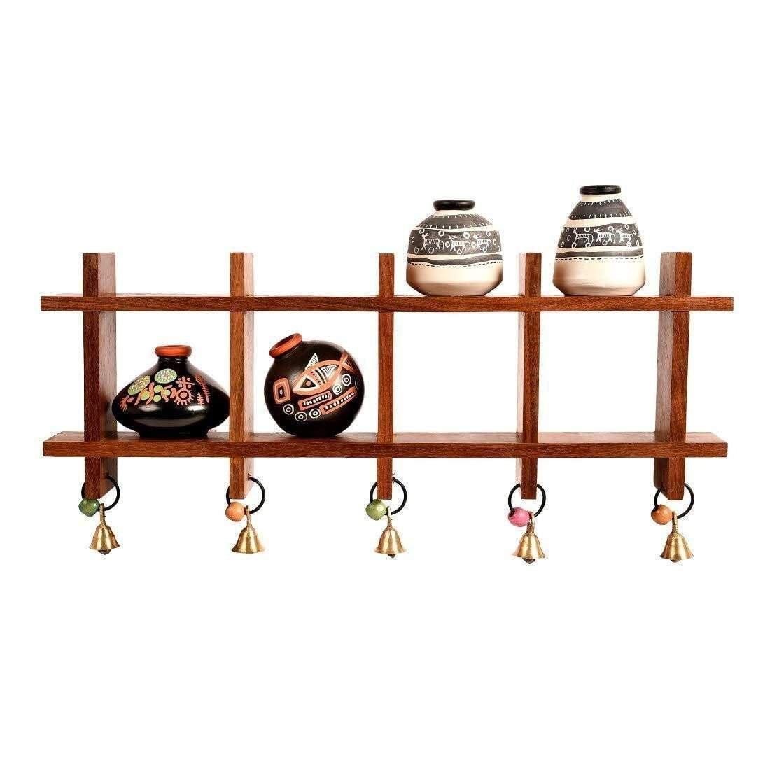 Wall Mounted Wooden Shelf With Terracotta Vases