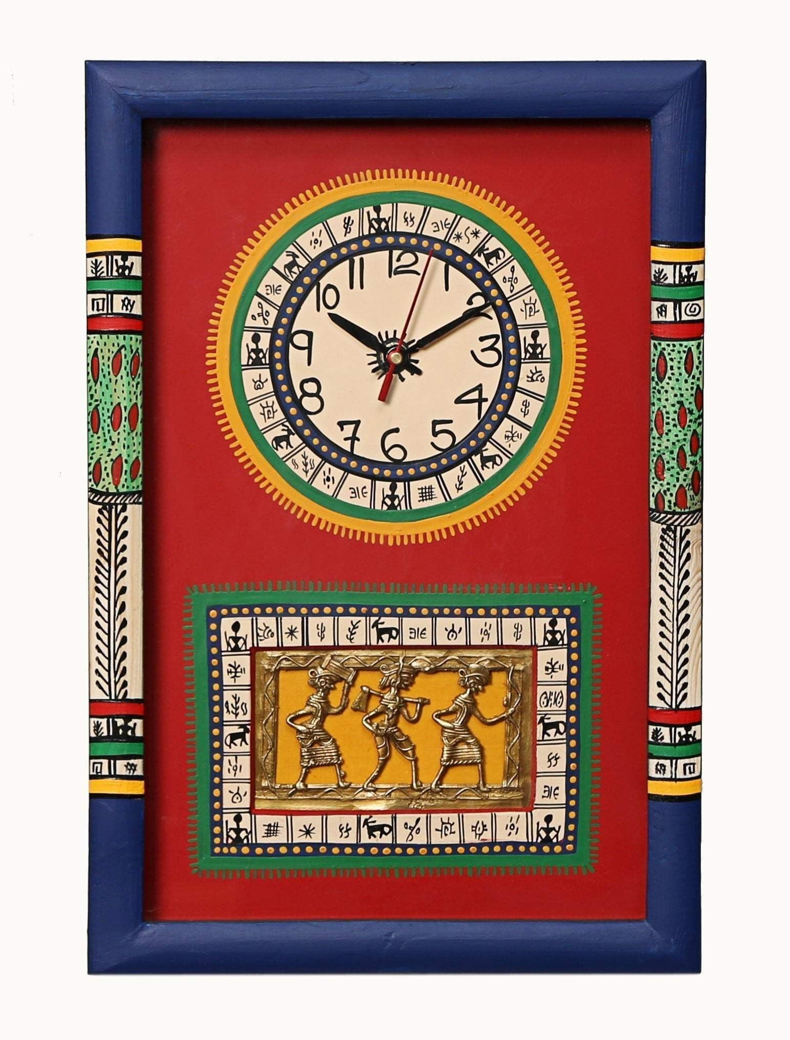 Traditional Red And Blue Wooden Wall Clock With Dhokra And Warli Art