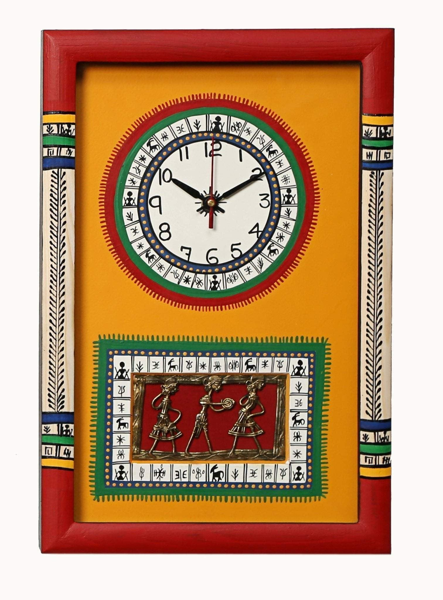 Red And Yellow Decorative Wooden Wall Clock With Dhokra work