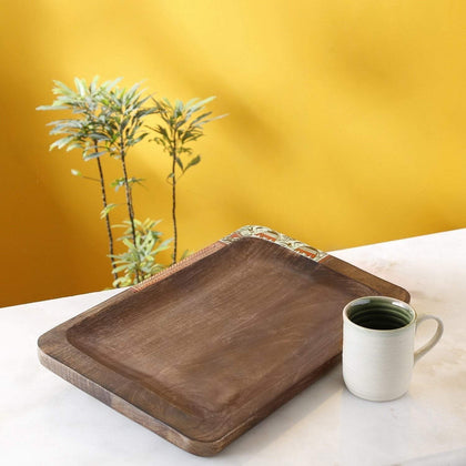 IndiaSupply Handcrafted Dinner Serving Tray |Trays |Wooden Tray | Serving Tray| Wooden Tray for Serving