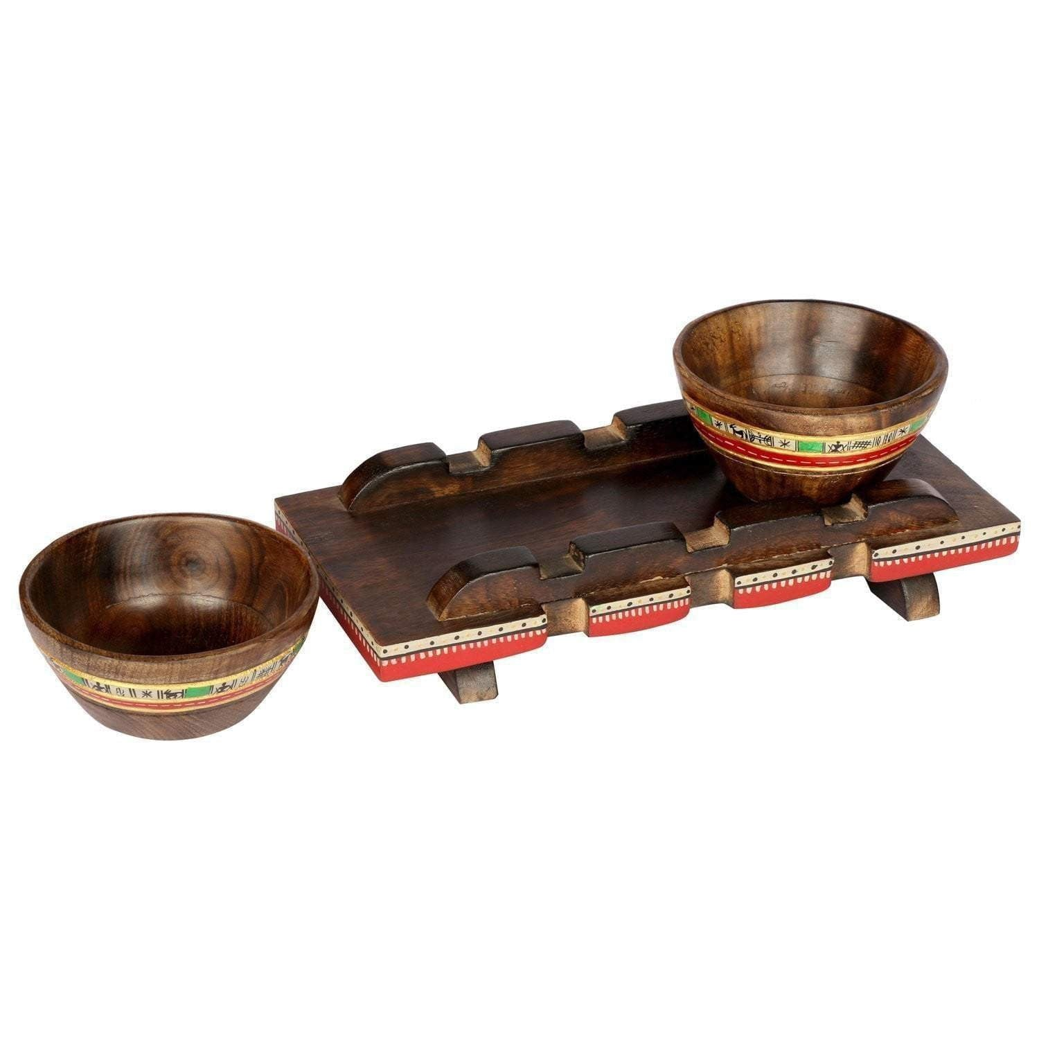 Handmade Brown Mango Wood Tray With Bowl Set