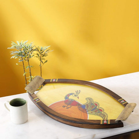 Artysta Oval Shape Wooden Tray with Antique Touch/Serving Tray/Decorative Trays Antique Tray/Trays