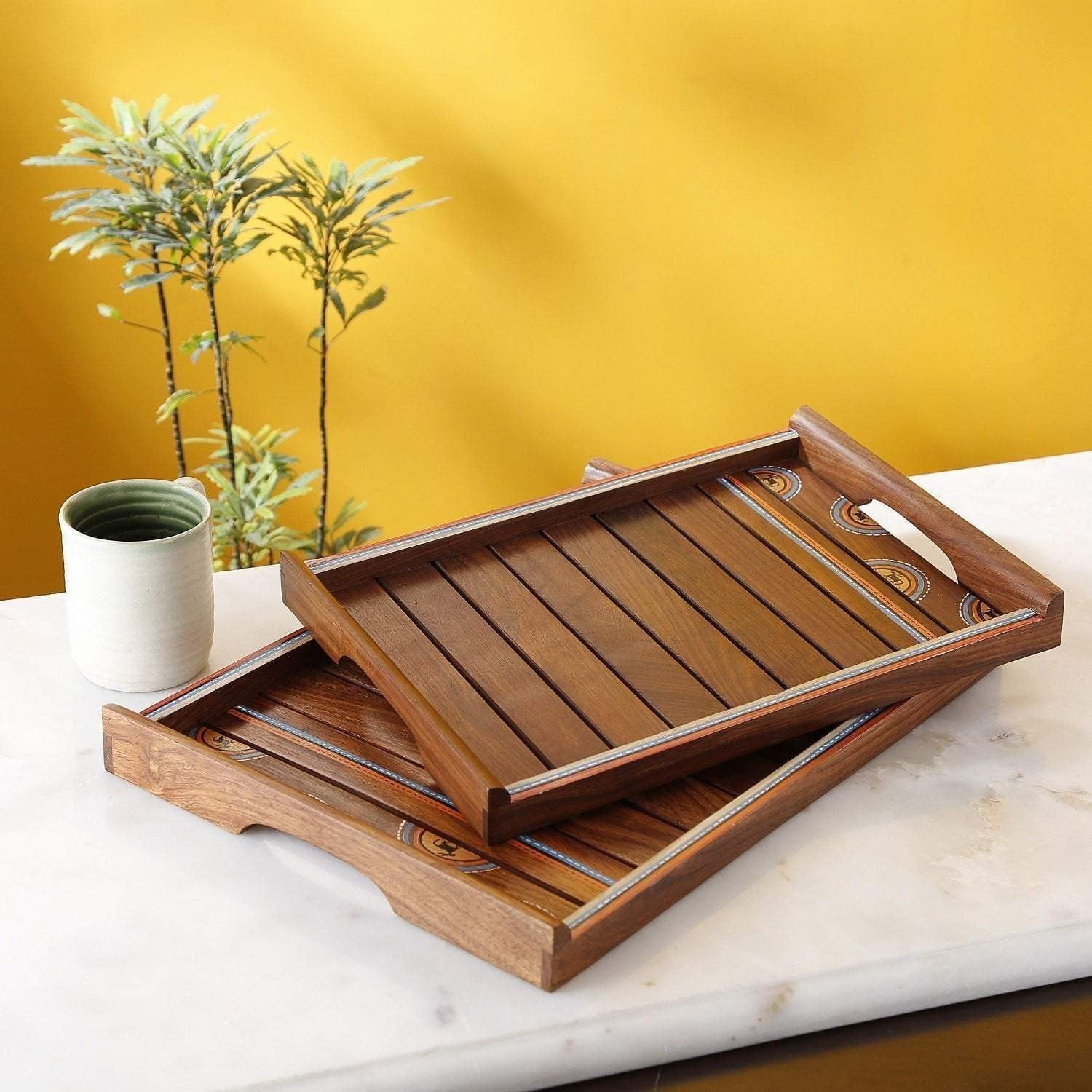 Set Of 2 Brown Handicraft Decorative Wooden Tray