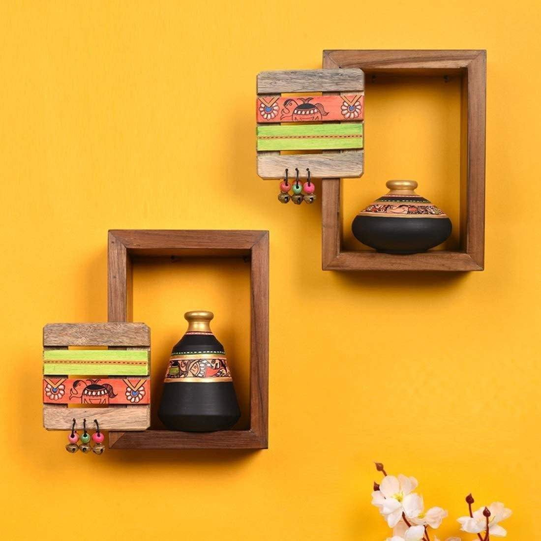 Madhubani Wooden Wall Shelves With Decorative Terracotta Vases