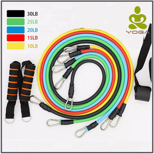 11 pc. durable elastic resistance training bands with free pouch!