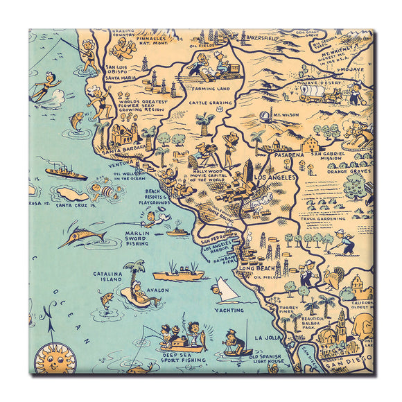 Golden State (Los Angeles) Square Magnet - ImageExchange