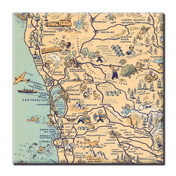Golden State (San Francisco) Square Magnet - ImageExchange