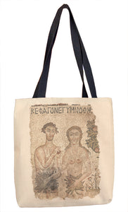 Fragment of a Floor Mosaic: Adam and Eve Tote Bag - ImageExchange
