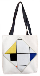 Lozenge Composition with Yellow, Black, Blue, Red, and Gray Tote Bag - ImageExchange