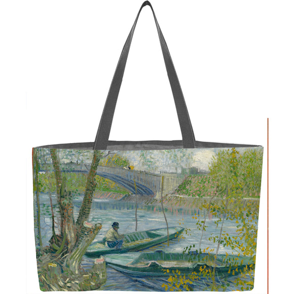Fishing in Spring, the Pont de Clichy (Asnières) Weekender Tote - ImageExchange