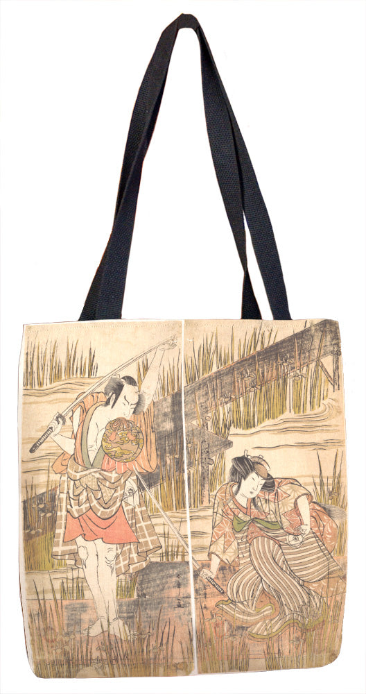 The Actor Onoye Matsusuke with Sword Held Above His Head with Both Hands Tote Bag - ImageExchange
