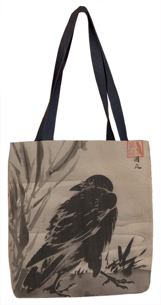 Crow and Reeds by a Stream Tote Bag - ImageExchange