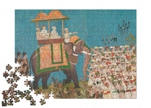 Three Noblemen in Procession on an Elephant Puzzle - ImageExchange