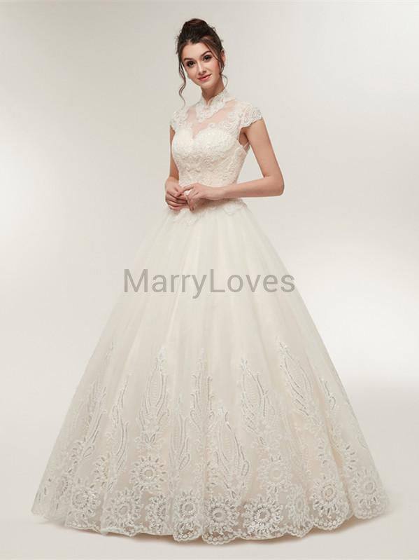 A-line Illusion Lace Top Princess Charming Wedding Dresses with Open-back Lace-up, EWD0007