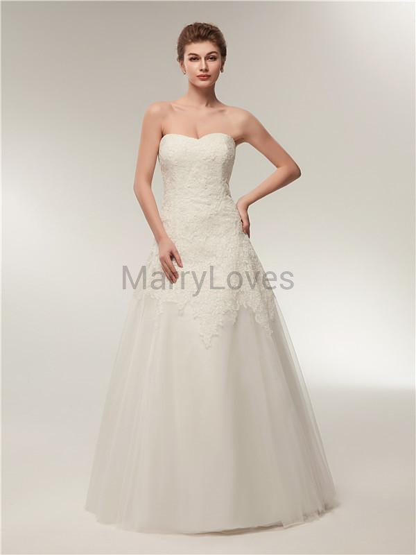 Sweetheart Strapless Lace Top Zipper Closure Tulle Wedding Dresses, EWD0004