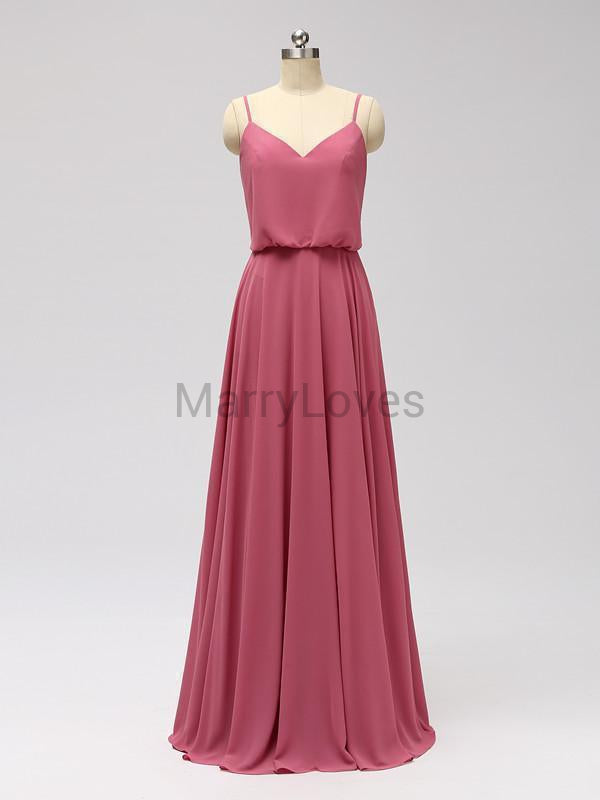 A-Line Chiffon Spaghetti V-neck Long Bridesmaid Dresses, EBD0001