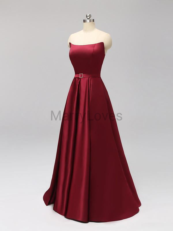 Elegant Strapless A-line Backless Burgundy Satin Long Prom Dresses, CPD0002