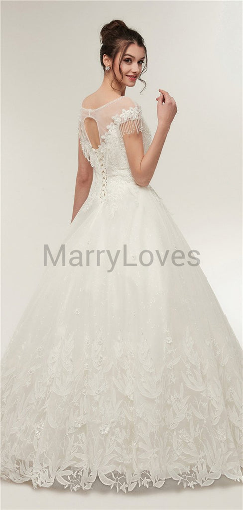 Bateau Yarn Sequin Lace Ivory Organza Norble Wedding Dresses with Lace-up Open Back, Princess Wedding Dress, EWD0011
