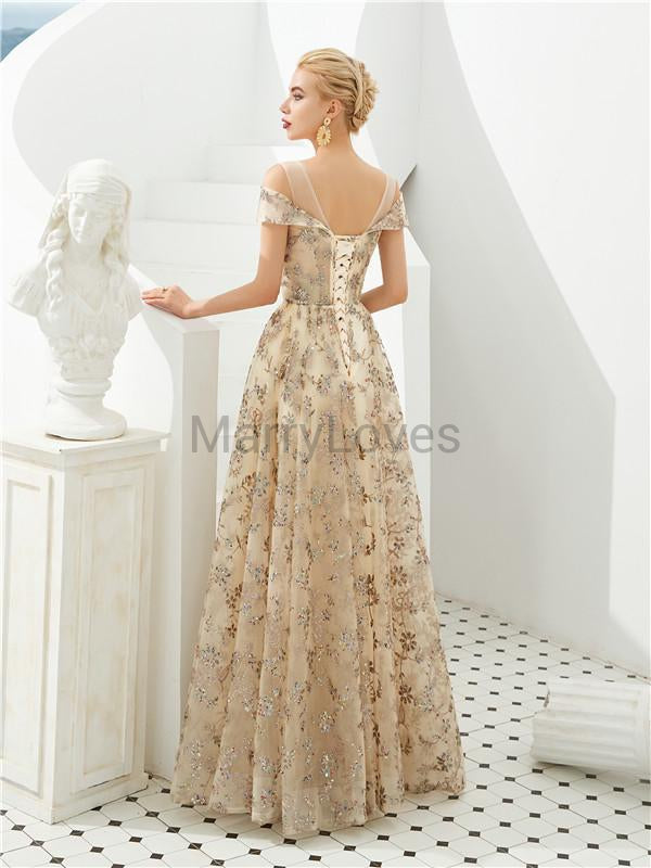 A-line Off-shoulder Floor-length Lace-up Appliqus And Sequins Long Prom Dresses, CPD0039