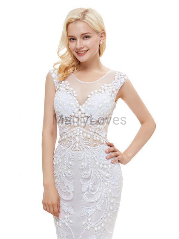 Newest See-through Charming A-line Beteau Cap-sleeve White Long Embroidery Mermaid Prom Dresses with Beadings, EPD0002